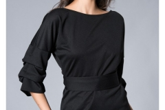wholesale-clothing-turkey-cotton-women-dress-fashion- Kadın Siyah Kruvaze Bluz