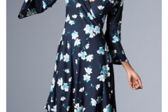 wholesale-clothing-turkey-cotton-women-dress-fashion-flower-276 Lacivert Çiçekli