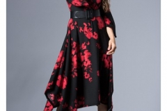 wholesale-clothing-turkey-cotton-women-dress-fashion-flower-276 SİYAH KIRMIZI