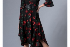 wholesale-clothing-turkey-cotton-women-dress-fashion-flower- 276 Siyah Desenli